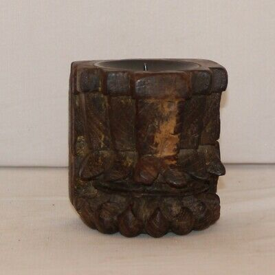 1850'S  Antique Hand Carved Wooden Column Base Candle Holder Stand 11249