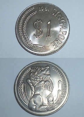 1 pc. 1981 Singapore Lion statue 1 $ one dollar Copper Nickel big coin (SC-54)