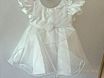 Baby Christening Ivory Formal Dress Flower Frill Lace Rose Girl Party 0-3 Months