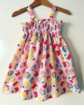 Toddler Summer Cupcake Elasticated Dress With Headscarf Handmade Size 12-18 M