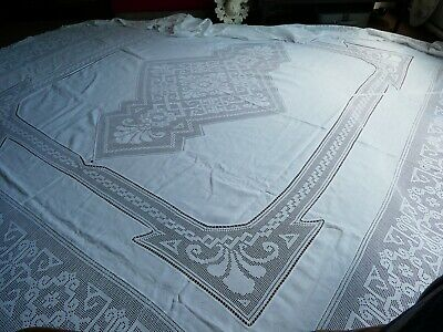 Huge Vintage Table Cloth/Bedspread? Cotton And Lacework? Crochet?