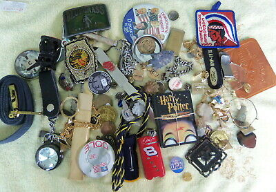3 Pound Plus Junk Drawer Lot - Pins-Coins-Tokens-Charms-Belt Buckles-Bsa- Misc.