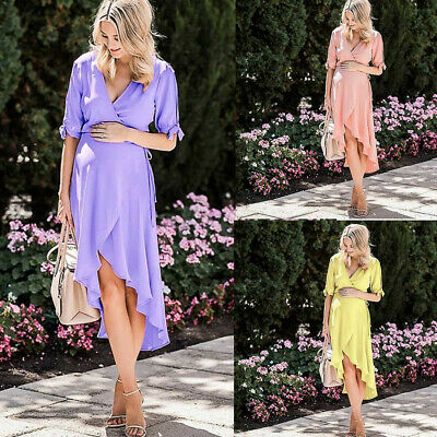 Pregnant Women Ladies Solid Short Sleeve Irregular Hem Maternity Casual Dresses