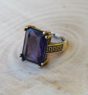 925 Sterling Silver Handmade Authentic Turkish Amethyst Ladies Ring Size 6-8