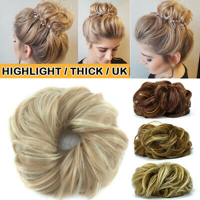 Highlight Natural Curly Messy Bun Hair Piece Scrunchie Thick Hair Extension US