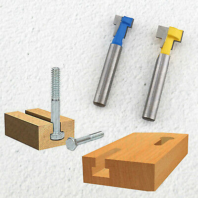 """2x T-Slot Woodworking Cutter 1/4"""" Shank Keyhole Router Bit 3/8"""" & 1/2"""" For Wood"""