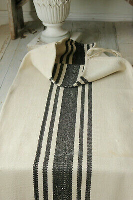 Grain Sack vintage with rare black stripes homespun linen and cotton textile