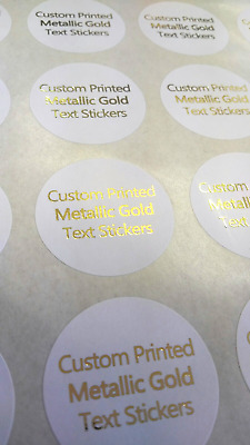 "Personalised 40mm (1.5"") Round METALLIC GOLD Printed Stickers Labels"
