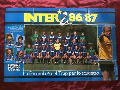 9 Autografi originali INTER MILANO 86/87 su Poster 80x53cm-RARISSIMO-IN PERSON!!