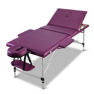 Zenses 3 Fold Portable Aluminium Massage Table Massage Bed Beauty Therapy Purple