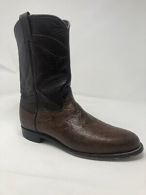 64ffd6750db JUSTIN 3172 EXOTIC Men's 12 D Black Smooth Ostrich Leather Ropers ...