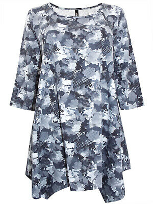 Ivans ladies tunic top plus size 22//24 26//28 30//32 blues greens abstract print