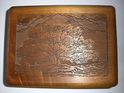 Vintage Mens Laser Carved Walnut Dresser Box filled w misc junk drawer stuff