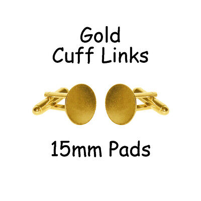 50 Cufflinks Cuff Link Gold Blanks Findings - 15mm Pads