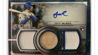 2019 Topps Museum Collection Jeff McNeil Triple Patch & Auto Rookie #'d 227/299
