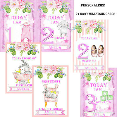 24 Baby Milestone Cards Personalised ~ 1st Year Memorable Moments  Baby Girl