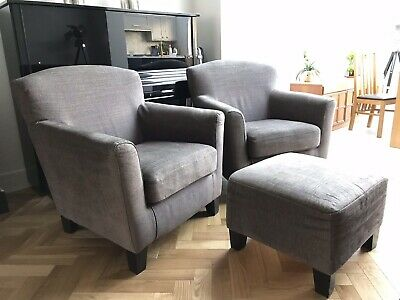 Ikea Ekenas Armchair Set With Footstool, Dark Brown