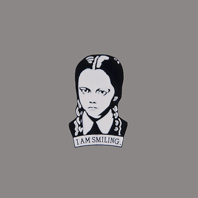 Wednesday Addams, I am smiling enamel pin, fun novelty pin badge UK