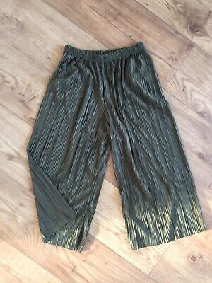 Pleated Plisse Cullottes High Waisted Trousers Womens 4 Or Girls Age 12-13