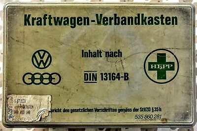 Vintage Vw Kraftwagen-Verbandkasten (Camper Van ? First Aid Kit),Inhalt Nach Din