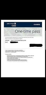 United Airlines UA Club One-Time Pass - Quick Email Delivery-Expires8/22/2019