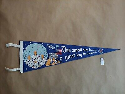 VINTAGE Apollo 11 First Moon Landing  FELT Pennant 1969 50th Anniversary NASA 7