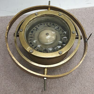 Oil Filled Gimballed Compass F. Smith & Sons - Nautical Ship, Brass Mounted #460