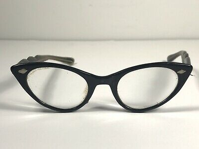 Antique Vintage Black Cat Eye Glasses Tryangle Diamond Shape