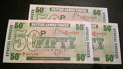 B A F Fifty pence notes x 3 (UNC)