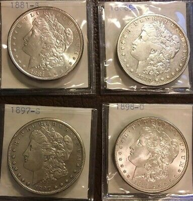 1881-S, 1885-S, 1897-S, & 1898-O Morgan Silver Dollars Beautiful And Shiny.