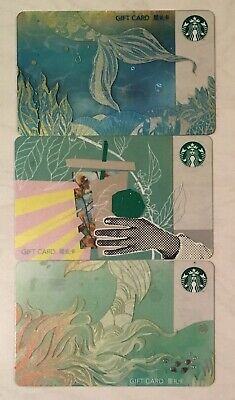Starbucks 2019 CHINA Cup Siren Tail Mermaid 3 Card Lot Set Collection