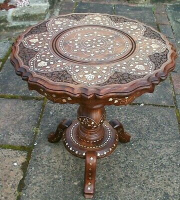 Beautifully Inlaid Vintage Anglo/Indian  Pedestal  Table