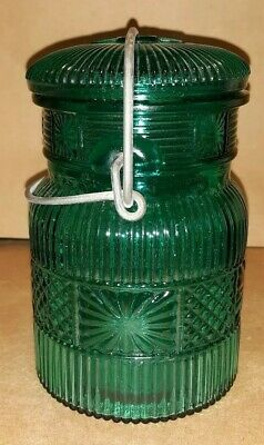 Vintage Blue/Green Glass Colored Mason Jar With Clamp On Lid.
