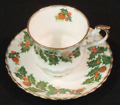 Rosina Yuletide cup and saucer green holly red berries pine cones England