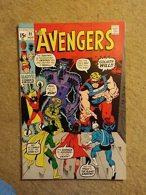 """Vintage 1971 The Avengers #91 """"Tale One Giant Step"""" Marvel Comics NO RESERVE"""