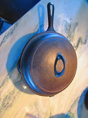 Griswold # 80 Vintage Cast Iron Hinged Double Skillet Frying Pan, with lid
