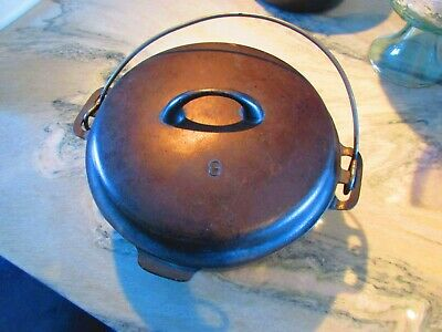 vintage Cast Iron No.8 1036D  Dutch Oven With lid