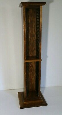 Vintage Wooden CD Rack Tower - Handcrafted Solid Wood