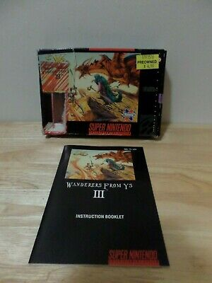 Wanderers From Ys III (3) Box and Manual ONLY for SNES Super Nes Nintendo Sammy