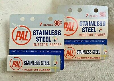 Vintage PAL Injector Razor Blades New Old Stock Stainless Steel 2 Packs 7 each