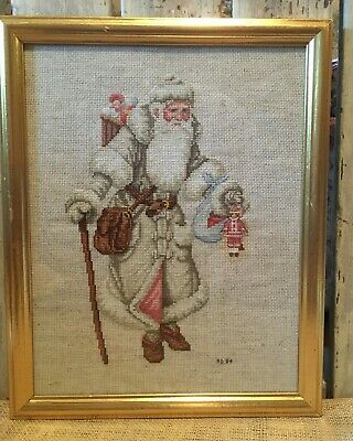 Vintage Father Christmas Completed Cross Stitch Framed Victorian Santa