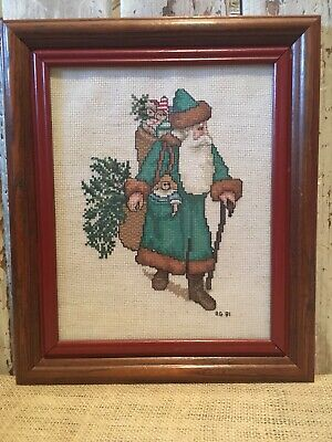 Father Christmas Completed Cross Stitch Framed Under Glass Victorian Santa