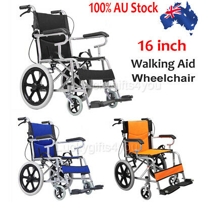 Folding Wheelchair Light Weight Manual Mobility Aid Park Brakes Push Solid wheel