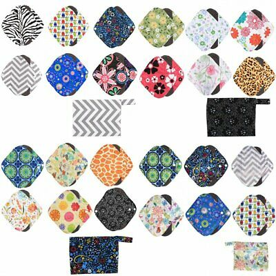 6X Asenappy Reusable Menstrual Pads Cloth Charcoal Bamboo Sanitary Panty Liners