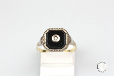 Ring 14 Carat Gold Silver Onyxplatte Diamond Ring Antique Jewelry