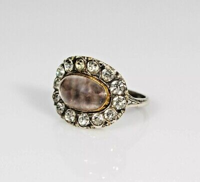 Antique Silver Paste Stones Hair Mourning Sentimental Ring Georgian Victorian 10