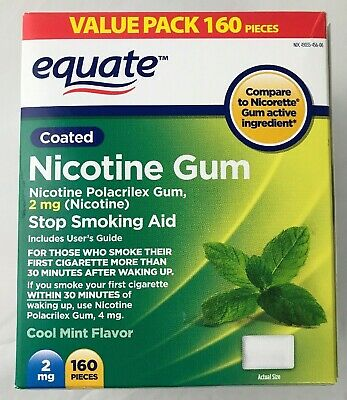 NEW Equate Nicotine Gum 2 mg, Coated, Cool Mint Flavor 160 Pieces 681131187329
