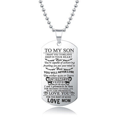 Parents To My Son/Daughter Letters Pendant Necklace Bead Chain Unisex Jewelry