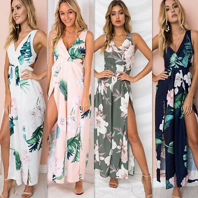 Women Boho Floral Long Maxi Playsuit Cocktail Holiday Summer Jumpsuit Romper New