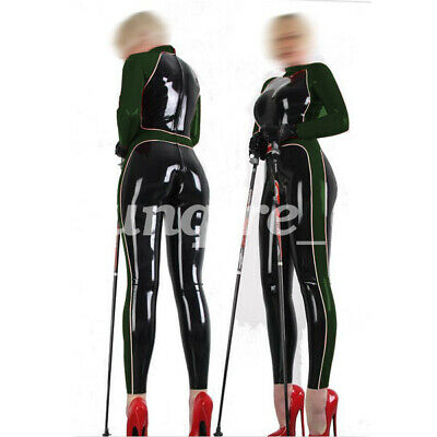 Latex Rubber Gummi Ganzanzug Catsuit Racing Uniform Bodysuit Suit Size S-XXL